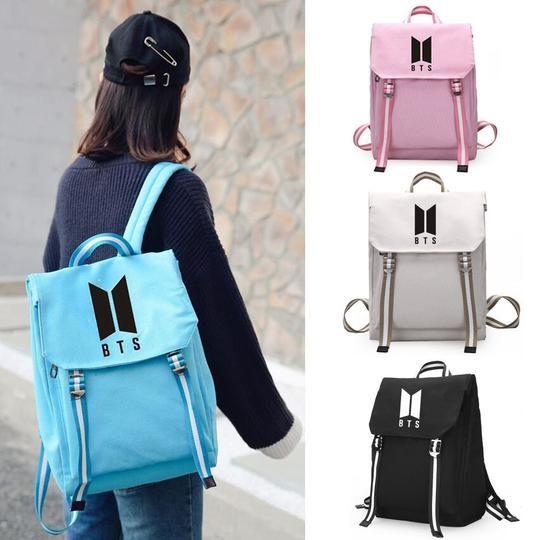 New Kpop BTS BT21 Bangtan Boys Group The Same Canvas Students Bag Fashion Teenage Backpack Travel Laptop Bag 4 Colors
