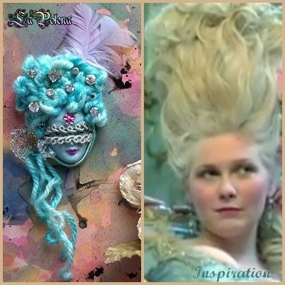 https://flic.kr/p/UHqnMm | Marie Antoinette pendant | hand made Venetian mask jewelry by La Polena. Hand painted small mask cabochon. Vintage hand dyed yarn fiber & lot of half earrings.