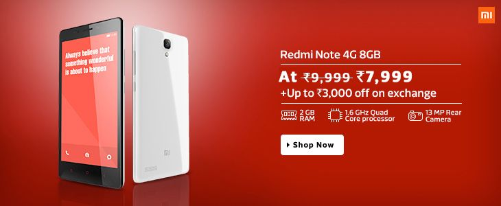 Xiaomi Redmi Note 4G , 8 GB now available for Rs. 7999– Shopinpedia.com