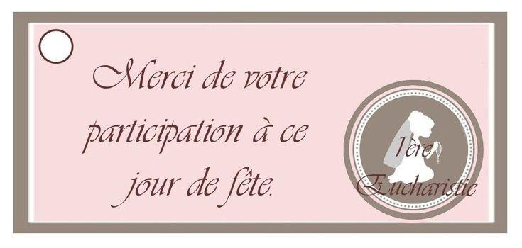 """Etiquette """"merci"""" 1ere commuion fille"""