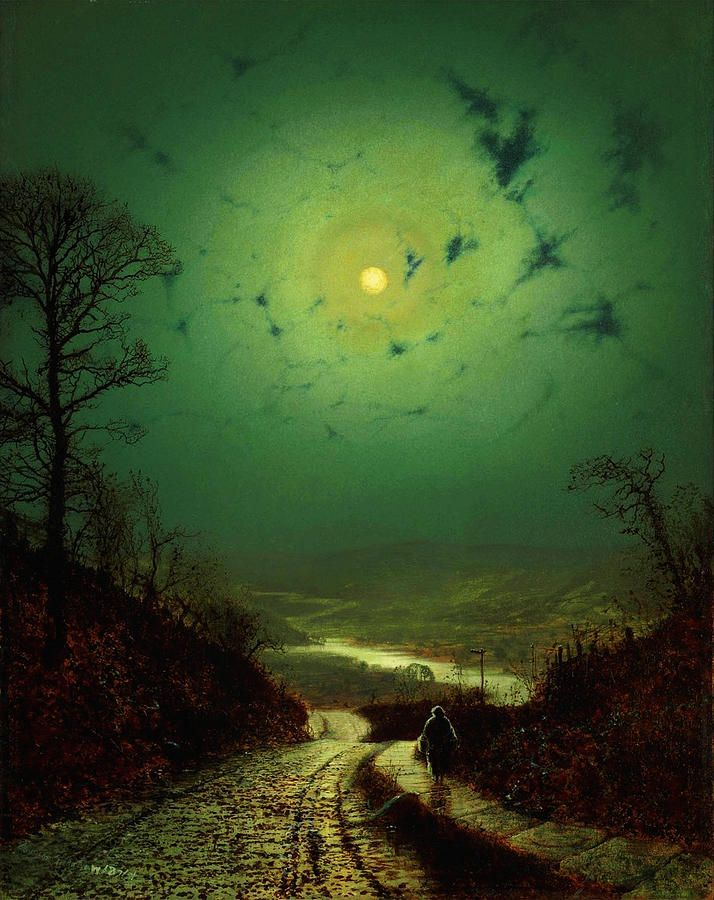 A Wet Road by Moonlight, Wharfedale (1871) John Atkinson Grimshaw