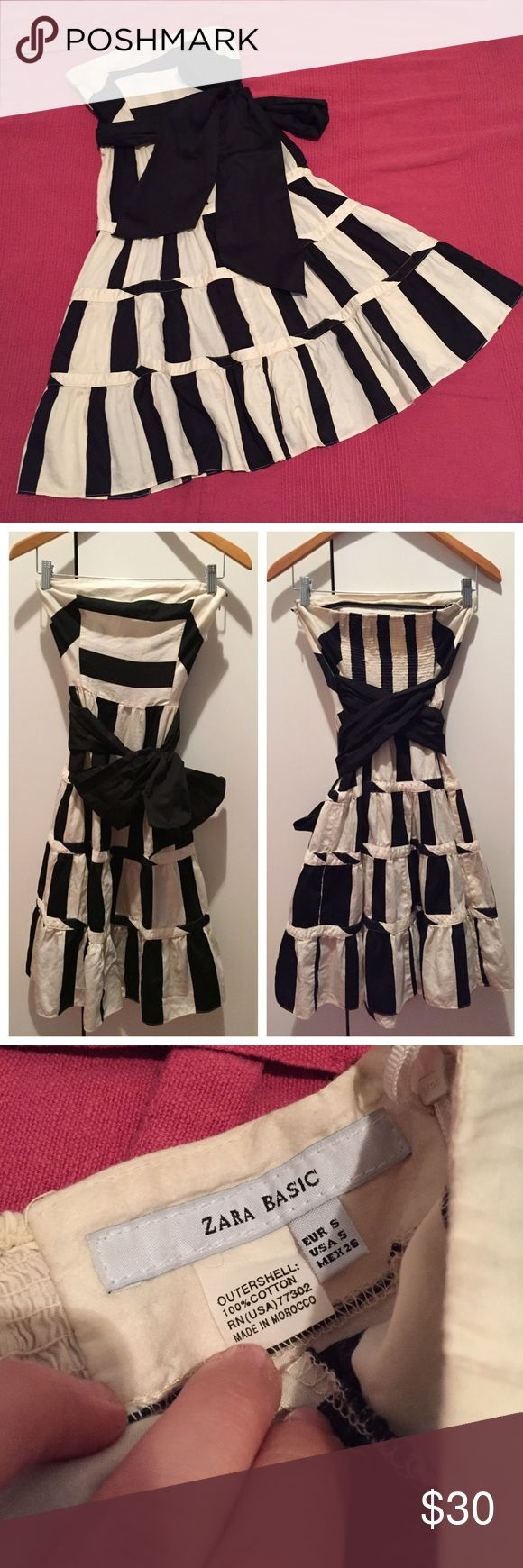 """Zara Strapless Summer Dress with black Fabric Belt Zara Strapless Summer Dress with black Fabric Belt // Size: Small // Chest: 14"""" (has elastic band on back so it stretches up to another 4-5"""" ) total length: 34"""" // Condition: Excellent. Only worn once to a wedding // Material: Cotton // Zara Dresses Strapless"""