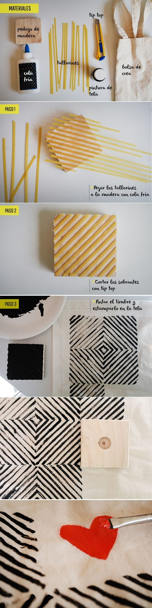 You can easily decorate your fabric bags, t-shirts or tablecloths by making your own stamps. One way to do is making a pasta bar stamp. Diagonally glue some pasta on a bar and dip this bar in paint…