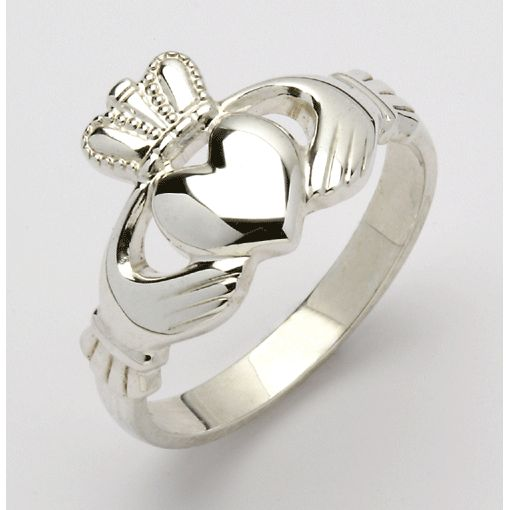Ladies White Gold Claddagh Rings - Celtic Jewelry | Irish Jewelry