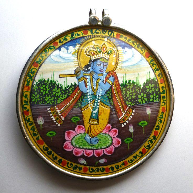 Krishna hindú diosa colgante Dios plata 925 India India miniatura pintura grano Focal de una flauta de pan de oro de joyas raras bueno de saxdsign en Etsy https://www.etsy.com/es/listing/240879164/krishna-hindu-diosa-colgante-dios-plata