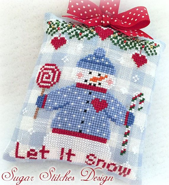 Let It Snow Christmas Ornament PDF Digital Cross Stitch Pattern