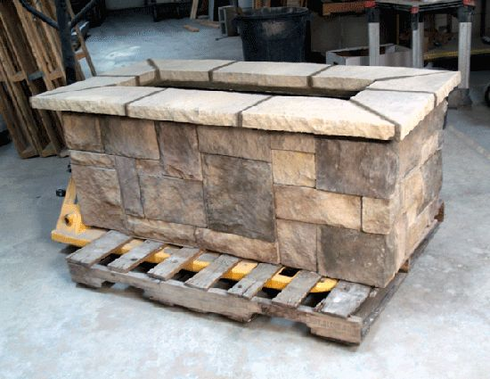 Custom rectangle fire pit kit propane fire pit for Rectangular stone fire pit