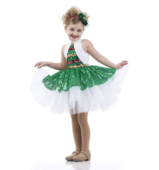 Christmas Tree Dress Costume: Oh Christmas Tree Sequin Tap Dress Holiday Ballet Dance