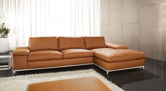 Upholstered sofa from leather-orange www.calunenie-edd...