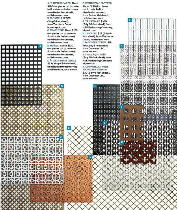 various radiator cover screen patterns