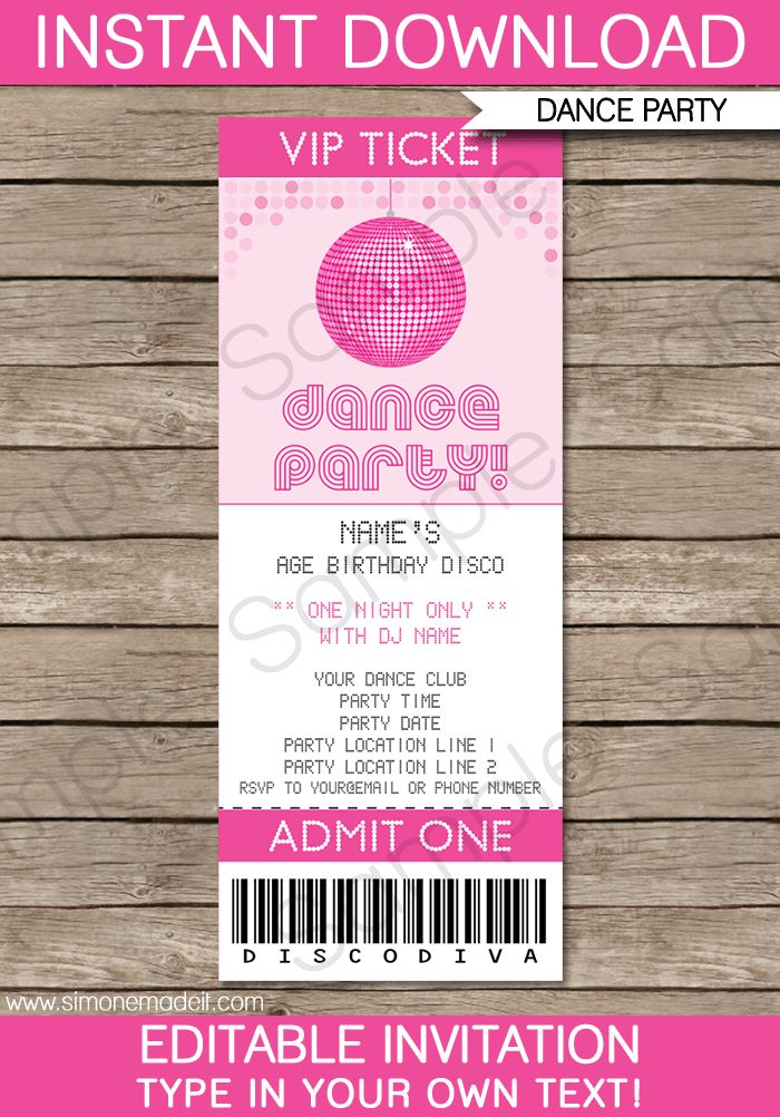 dance party ticket invitations template  u2013 pink