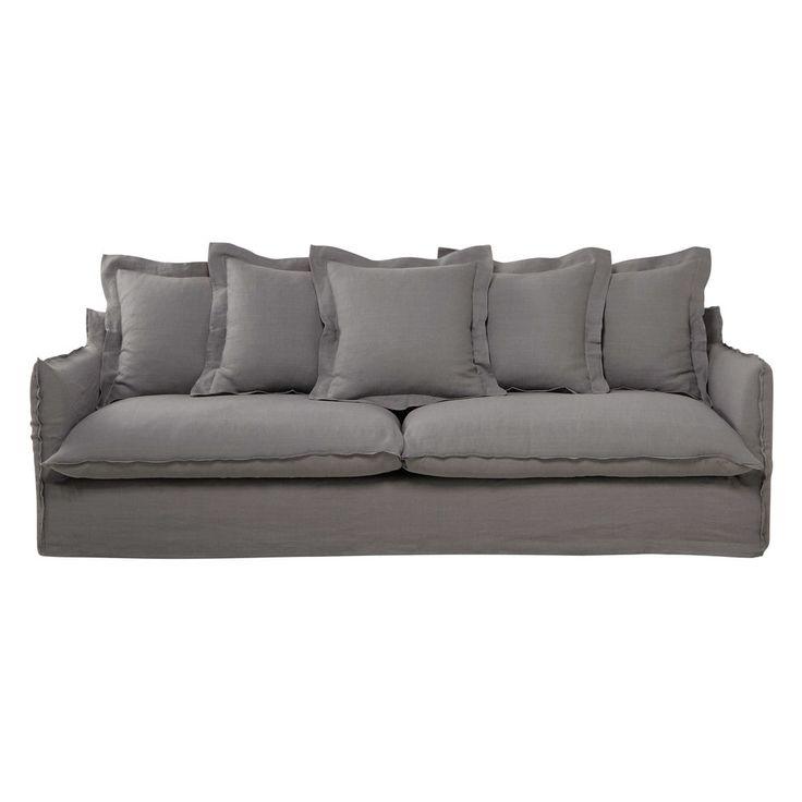 Sofá 5 plazas de lino lavado gris claro