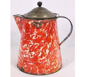 Extremely rare old red swirl granite ware coffee boiler with riveted handle, spout, and ears.