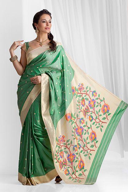 W14-32 - Pure silk paithani saree weaved with real zari