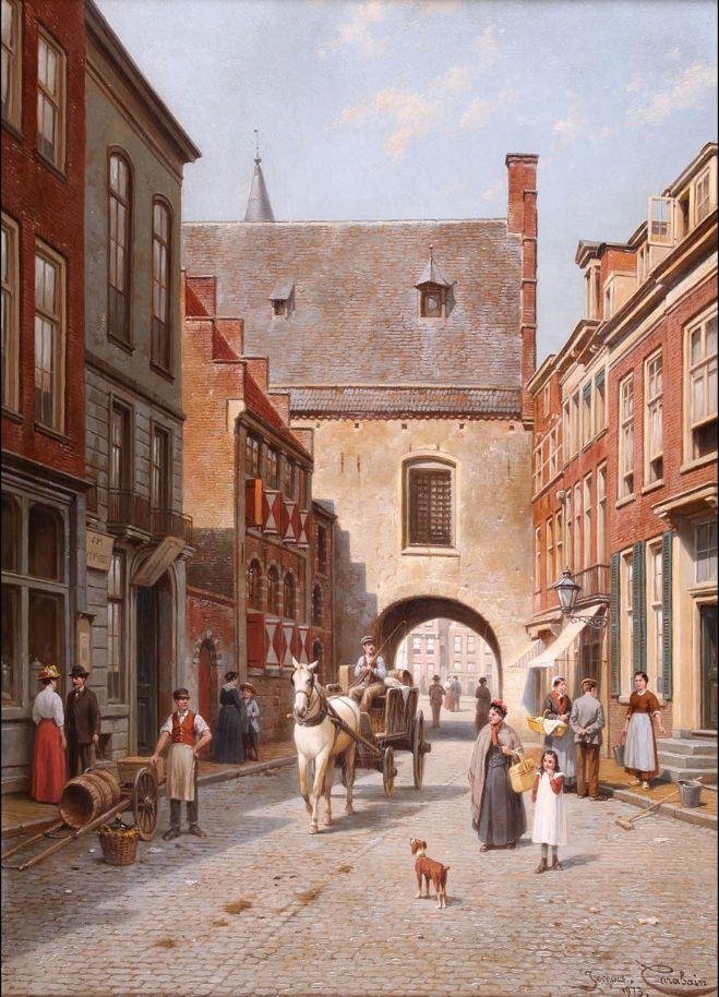 Een drukke dag bij de Gevangenpoort (negentiende eeuw) - Jacques Francois Carabain (1834-1933)