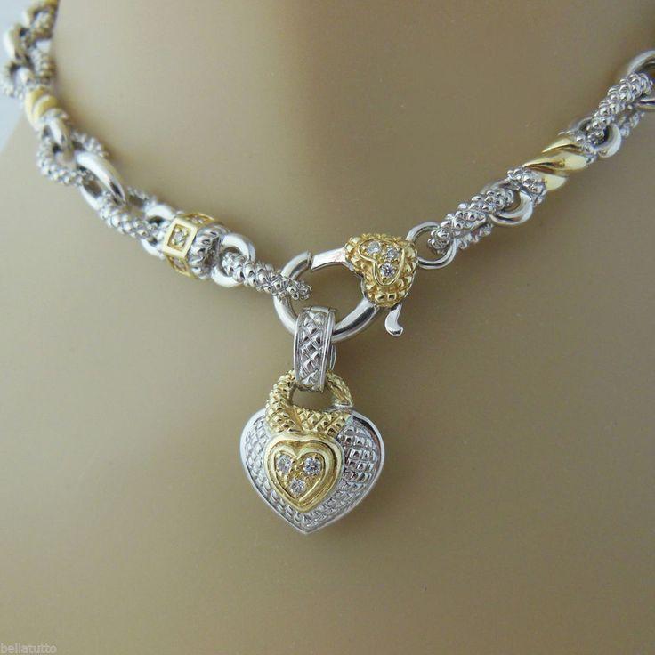 25 best judith ripka images on pinterest judith ripka heart judith ripka sterling silver 18k diamond necklace diamond heart enhancer aloadofball Image collections
