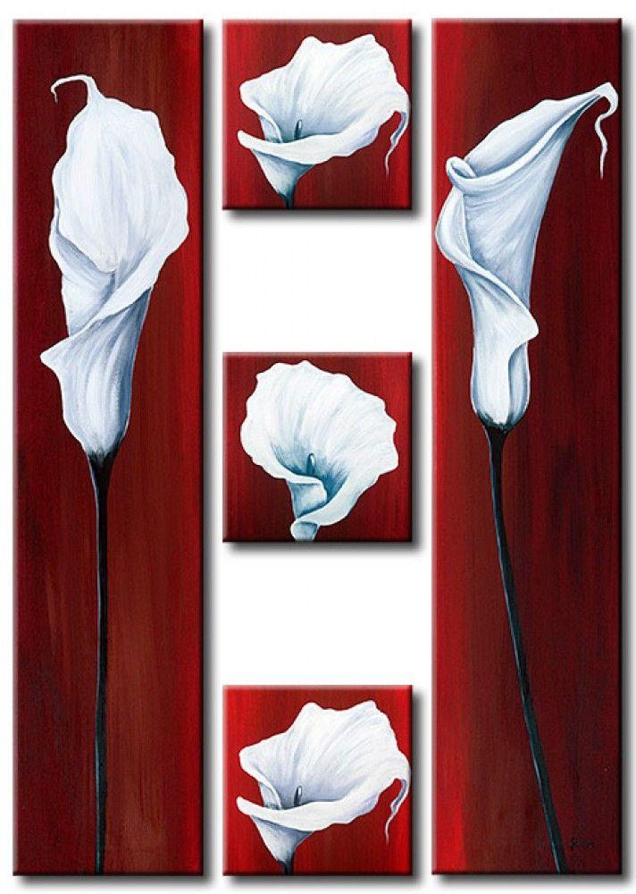 """Obraz na płótnie z białymi kaliami """"Kompozycja"""" to doskonały przykład na to, jakie wrażenie można osiągnąć dzięki minimalizmowi w sztuce!"""