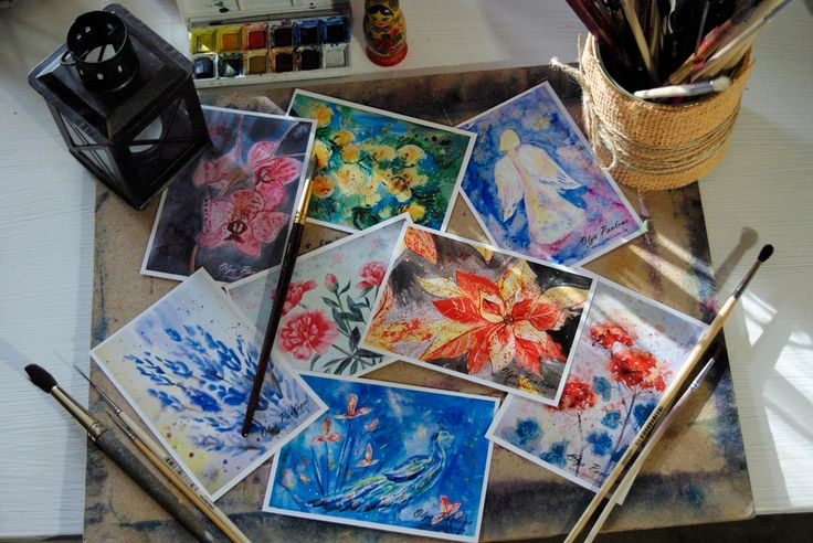 Art cards. Set of 8 watercolour reproductions A6 size, 350gr coated paper by RecipesOfHappiness on Etsy