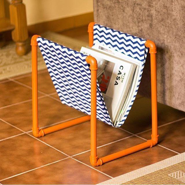 Porta revista feito com canos PVC, amei! ✨