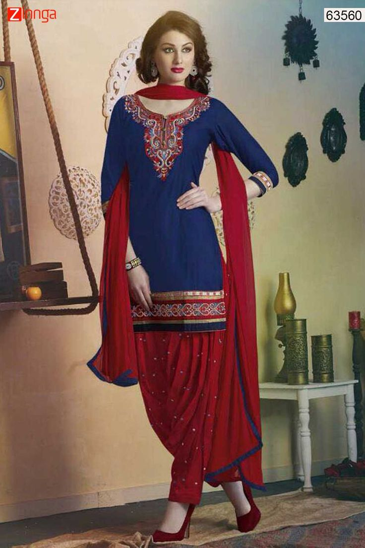 Patiala Style Blue with Resham Work Incredible Unstitched Salwar Kameez. Message/call/WhatsApp at +91-9246261661 or Visit www.zinnga.com
