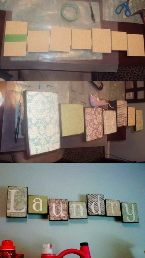 Could do something like this with the various box lids lying around! Scrapbook paper and cardboard block letter Craft