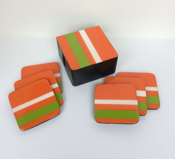 Coasters and Box handmade painted wood solid por FucsiaDesigns