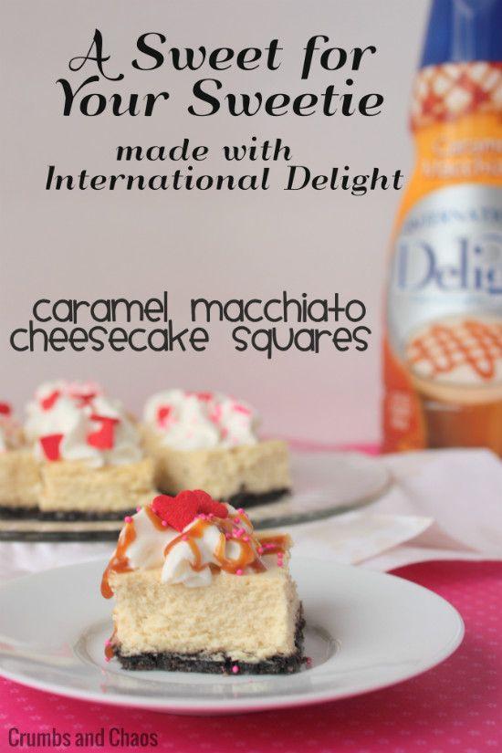 Caramel Macchiato Cheesecake Squares | Crumbs and Chaos #IDLove #