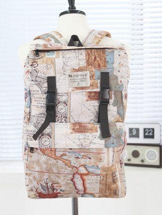 World wide Map square backpack/school bag/travel backpack/big backpack/book…