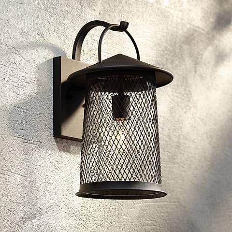 Serrington 15 1 2 High Black Mesh Outdoor Wall Light 42f14 Lamps Plus Wall Decor Lights Outdoor Wall Lighting Wall Lights