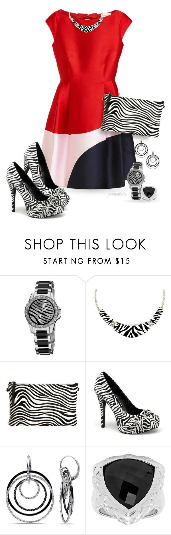 """Zebra Print Pumps, Clutch & Jewelry"" by pwhiteaurora ❤ liked on Polyvore featuring Kate Spade, Vernier, Ice, katespade, colorblock, zebra, animalprint and platformpumps"