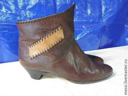 Винтажная обувь. Ярмарка Мастеров - ручная работа. Купить Винтажные кожаные полусапожки Clock House, р.39. Handmade. Коричневый