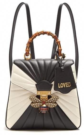 85a9b756ddd Gucci - Queen Margaret Quilted Leather Backpack - Womens - Black White   Designerhandbags  whitedesignerhandbags