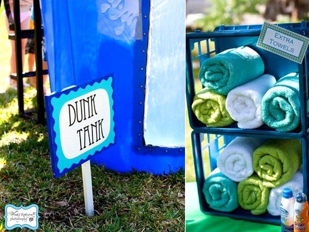 A Water War party, complete with a dunk tank, water guns and water balloons would be such a great summer birthday party idea. Throw in a slip-n-slide and I think you'd have the perfect afternoon.