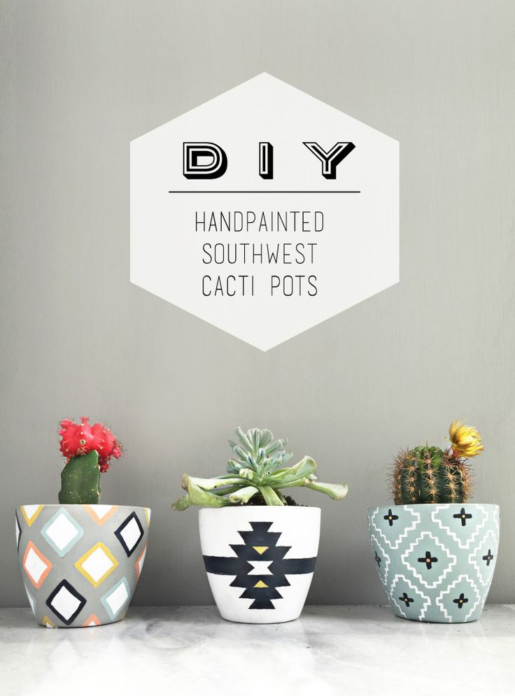 {Tutorial} DIY handpainted southwest cacti pots using Chalkworthy Antiquing Paint. Why settle for drab planters, when you can easily personalize them to perfectly match your style & decor!