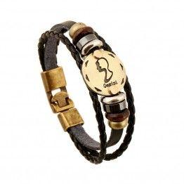 Fashionable ERESI Bronze Alloy Leather Zodiac Signs Bracelets