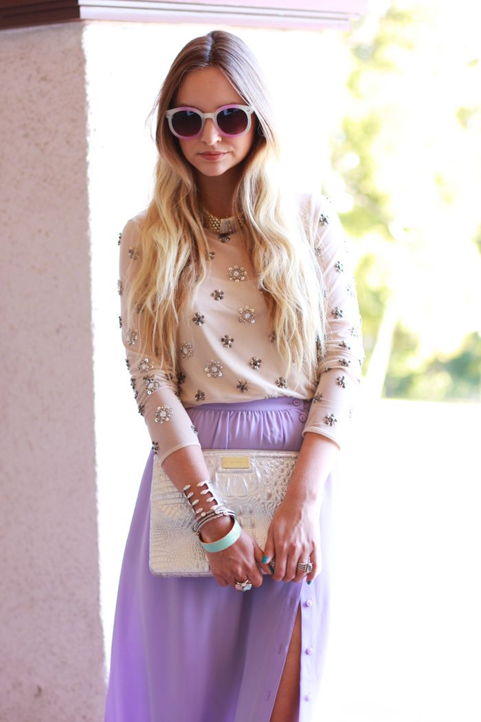 lavender skirt and sparkly top // perfect pastels