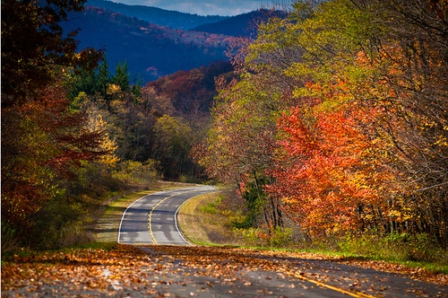 Winding road through the Appalachian Mountains in fall color.