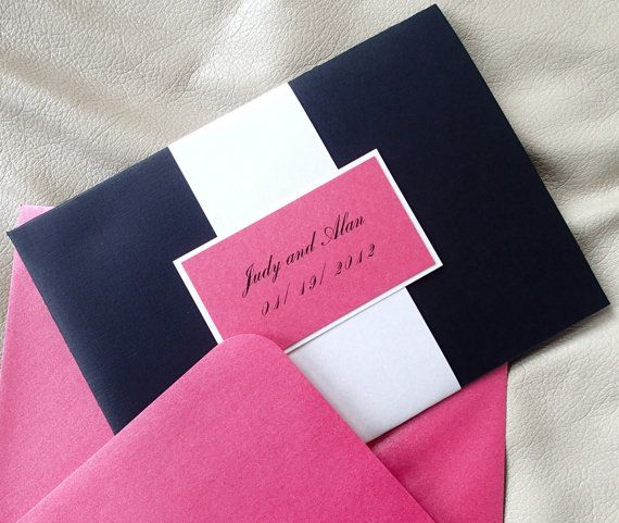 simple elegance...Pocketfold invitation, Black pocket fold invitation, Fuschia wedding invitation, Ivory invitation, Modern invitation