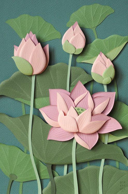 Beautiful paper lotuses