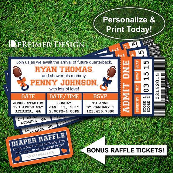 Sports Ticket Baby Boy Shower Invitation, Broncos, Denver, Football, Blue and Orange, Instant Download, DIY +BONUS Diaper Raffle Tickets. By DeReimer DeSign for only $10