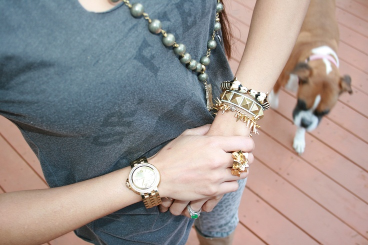 From the PS BANANAS #fashionblog - #STELLAandDOT #bracelets, #armswag, #armparty #wristparty #GeorgiaFletcher #necklace, #MichaelKors watch, #CCSkye fool's gold ring