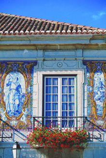 Azulejos on house, Cascais, Portugal