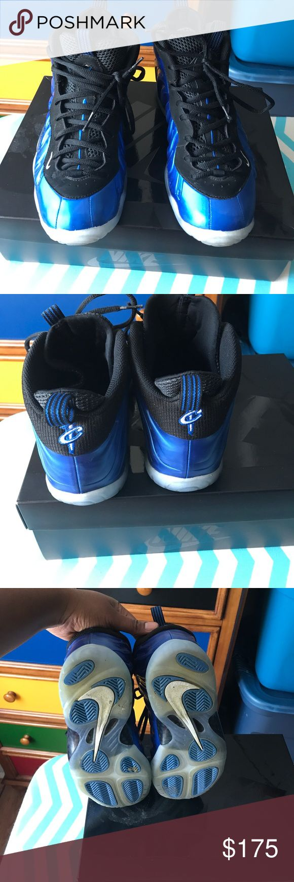 Big Kid foamposite Barely worn big kid foamposites; Royal and Black! Still in great condition looks new! Only worn for one month. Price is firm Nike Shoes Sneakers