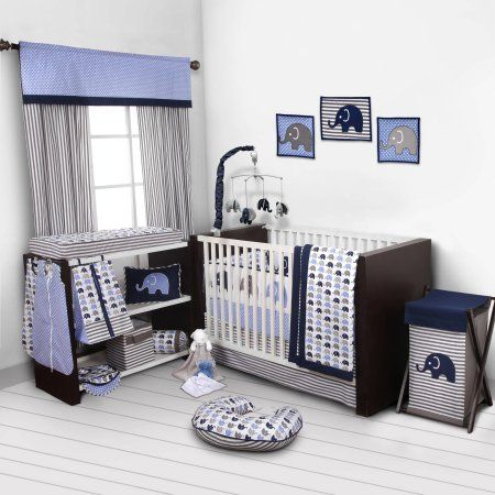 Bacati Elephants 10-Piece Nursery in a Bag Crib Bedding Set with Bumper Pad, Blue/Gray  for US standard Cribs