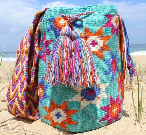 Mobolso - Cielo Flor - #Wayuu #Mochila #handmade #fashion #fairtrade #boho #festival #bag #summer #beach #color