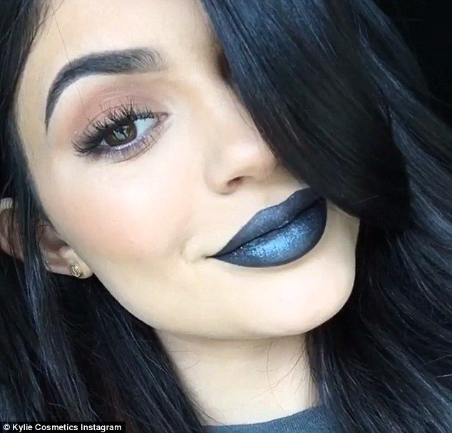 Black and blue: Kylie Jenner, 18, is adding a new shade to her metal matte lipstick line: Majesty (seen above), a black hue with blue undertones