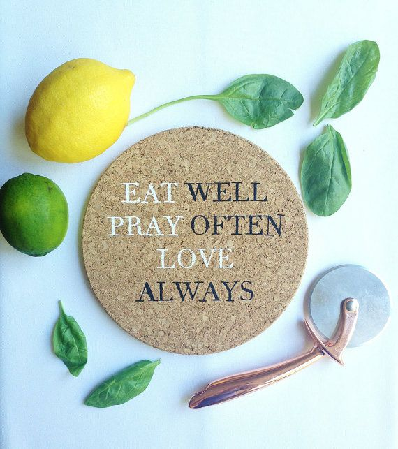 Eat Pray Love Cork Trivet by ThicketandThatch on Etsy   Thicket + Thatch  