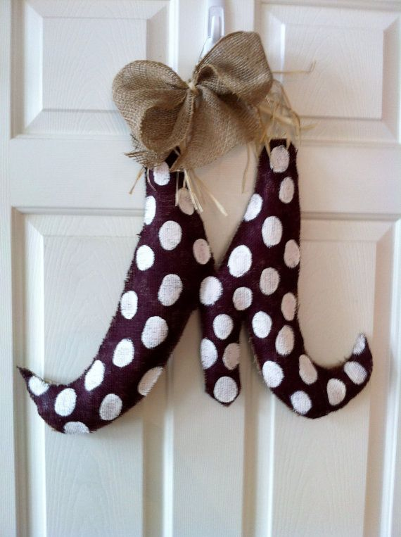 Customized Initial Burlap Door Hanger by 2CreativeGirls on Etsy, $25.00