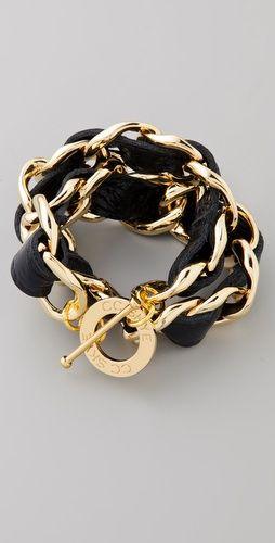 black and gold: Double Wraps, Wraps Bracelets, Wraps Woven, Black And Gold Accessories, Leather Chain, Bracelets Thestylecurecom, Cc Skye, Skye Double, Woven Bracelets
