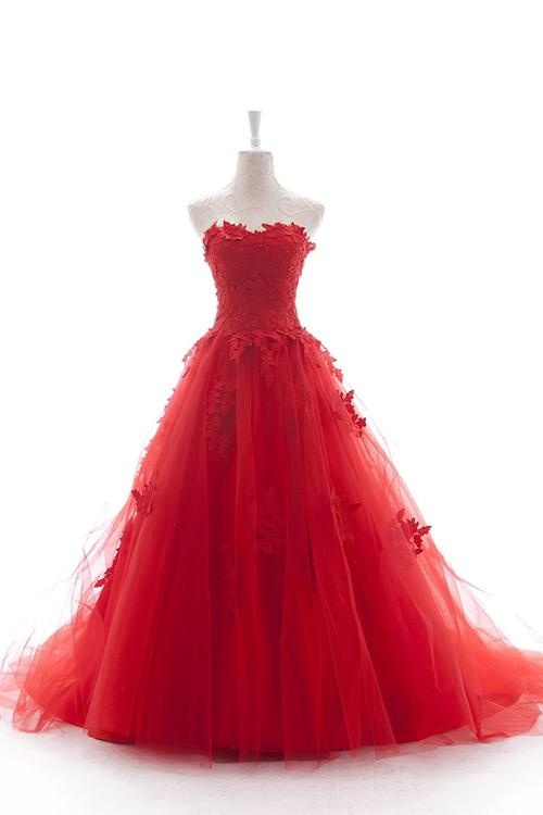 2013 New Hot Style Red A Line Sweetheart Soluble Lace Tulle Wedding Dress